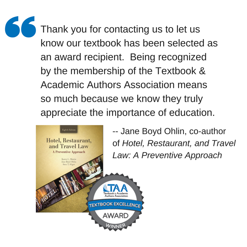 Quote on receiving Textbook Excellence Award